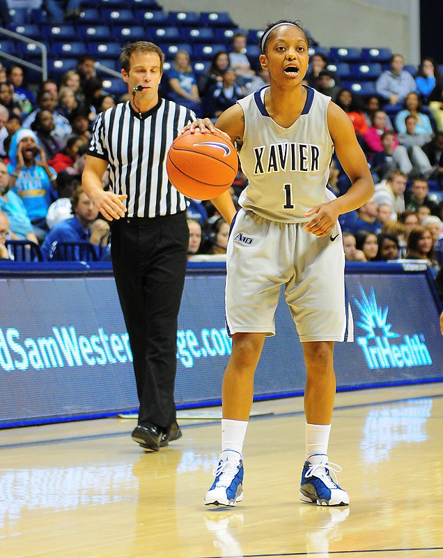 Xavier guard Special Jennings (1) calls out the play.   (#4) Xavier defeated USC Trojans 69 - 66 at the Cintas Center in Cincinnati, Ohio.