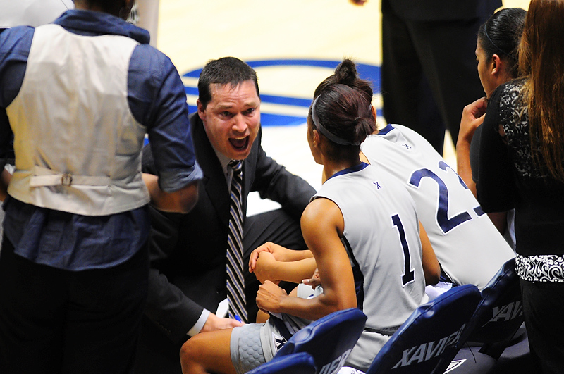 Xavier head coach Kevin McGuff during a time out.   (#4) Xavier defeated USC Trojans 69 - 66 at the Cintas Center in Cincinnati, Ohio.