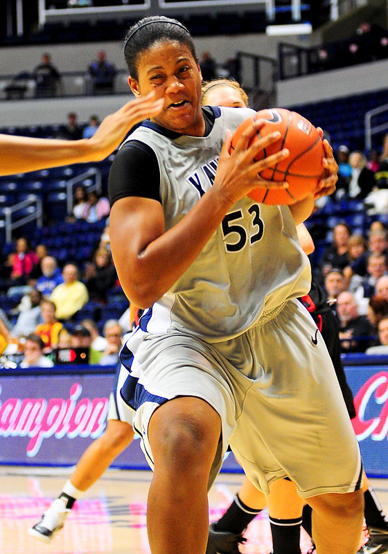 Xavier center Ta'Shia Phillips (53) drives to the basket.  (#4) Xavier defeated USC Trojans 69 - 66 at the Cintas Center in Cincinnati, Ohio.