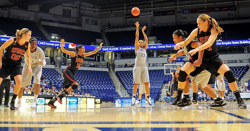 Xavier guard Megan Askew (23) shooting a free throw.  (#4) Xavier defeated USC Trojans 69 - 66 at the Cintas Center in Cincinnati, Ohio.