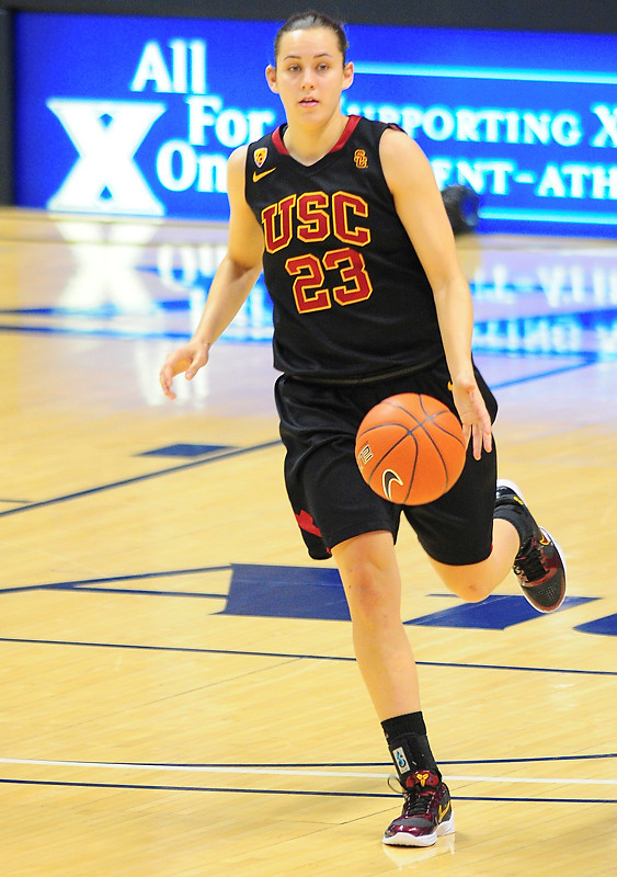 USC Trojans guard Jacki Gemelos (23) pushes the ball up court.   (#4) Xavier defeated USC Trojans 69 - 66 at the Cintas Center in Cincinnati, Ohio.