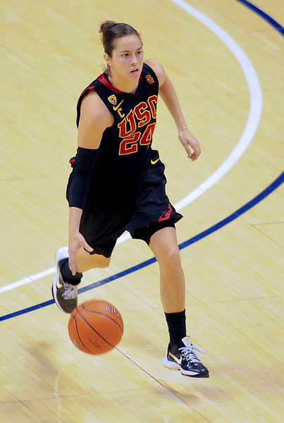 USC Trojans guard Ashley Corral (24).  (#4) Xavier defeated USC Trojans 69 - 66 at the Cintas Center in Cincinnati, Ohio.