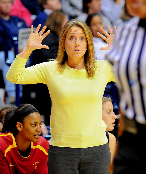USC Trojans assistant coach Laura Beeman yelling to get there hand up.  (#4) Xavier defeated USC Trojans 69 - 66 at the Cintas Center in Cincinnati, Ohio.