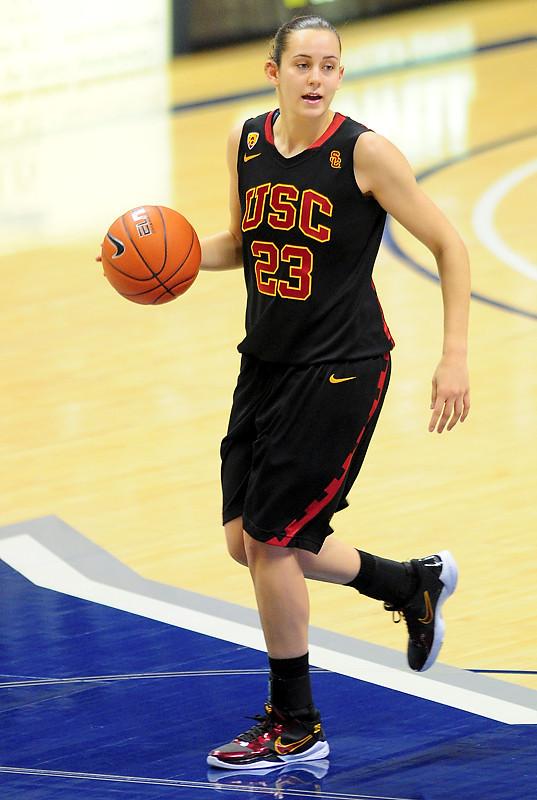 USC Trojans guard Jacki Gemelos (23).   (#4) Xavier defeated USC Trojans 69 - 66 at the Cintas Center in Cincinnati, Ohio.