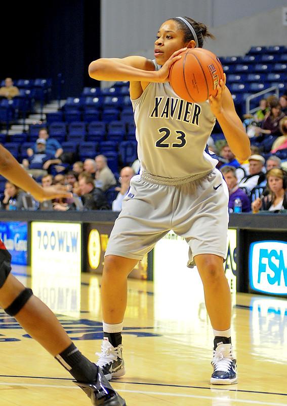 Xavier guard Megan Askew (23).  (#4) Xavier defeated USC Trojans 69 - 66 at the Cintas Center in Cincinnati, Ohio.