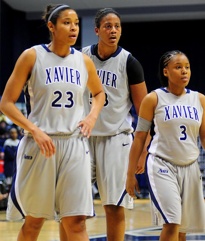 Xavier center Ta'Shia Phillips (53) between Xavier guard Megan Askew (23) and Xavier guard Shatyra Hawkes (3).  (#4) Xavier defeated USC Trojans 69 - 66 at the Cintas Center in Cincinnati, Ohio.