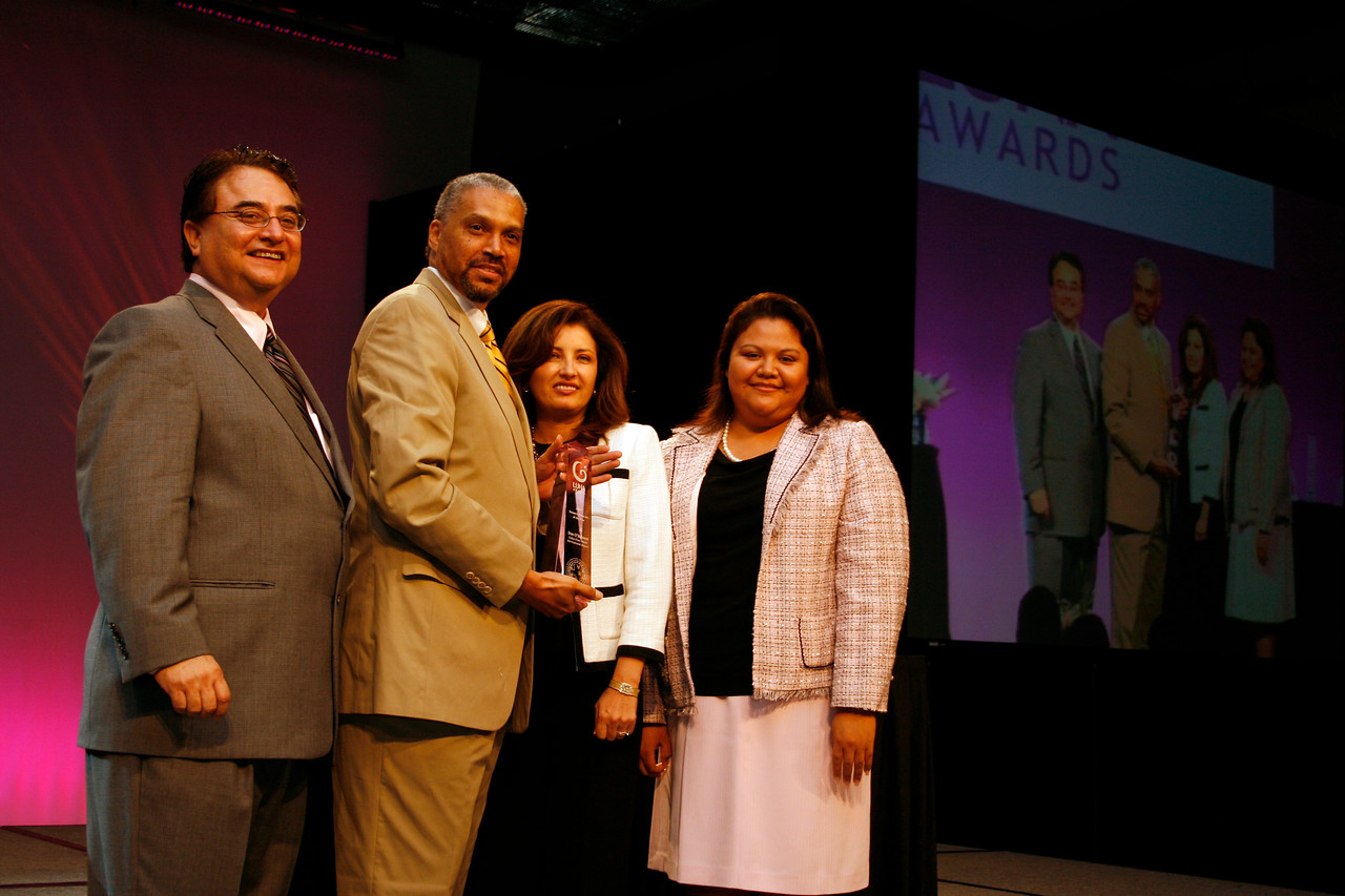 HCADFW Chairman Chris Escobedo; HCADFW Luna Awards Recipient for Business Advocate of the Year: Don O'Bannon of DFW Airport; Deputy Mayor Pro Tem Dr. Elba Garcia and HCADFW Board Member and Event Chair Elizabeth Chavez.