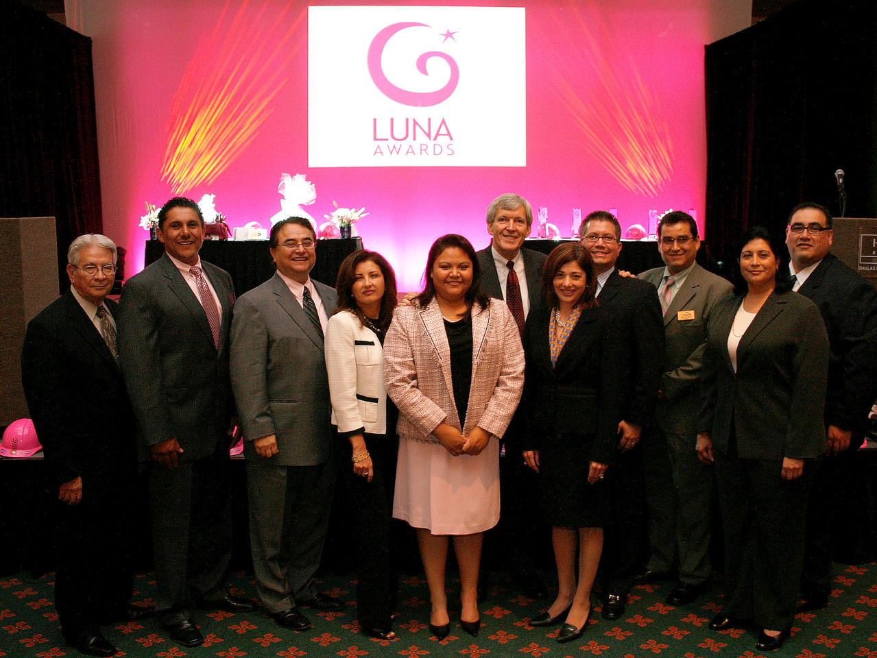 HCADFW Board Members; Hank Lopez; Javier Huerta; Chris Escobedo, Chairman; Deputy Mayor Pro Tem Dr. Elba Garcia; Mayor Tom Leppert; JP Morgan Chase Executive Vice-President Alice Rodriguez; HCADFW Board Members John Leos; Jose Rodriguez; Brenda Reyes; and HCADFW President Mr. John H. Martinez-D.