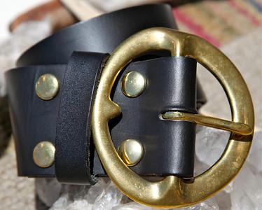 Black belt w/soled Brass Buckle