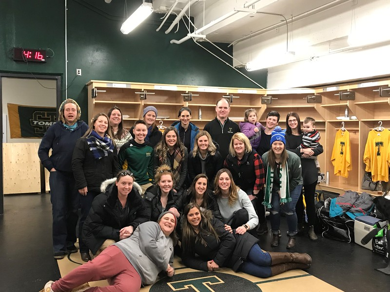 Back row left to right: Sara Sollows; Marianne (Waite)Spencer; Amy (Simpson) Neal; Lucrece Nussbaum; Peter Murphy; Rebekah Connors; Amy Nelson<br /> Third row, from left: Erin Crowell; Ashley Duguay; Erin Maclsaac; Amy Duffield; Kelly Manuel-Quinn; Stephanie Gates<br /> Second row, from left: Emily Hobbs; Amanda Burns; Katie Brewster; Cassidy Martin;<br /> First row, from left:  Liette Arsenault; Kristin (Wolfe) Matthews