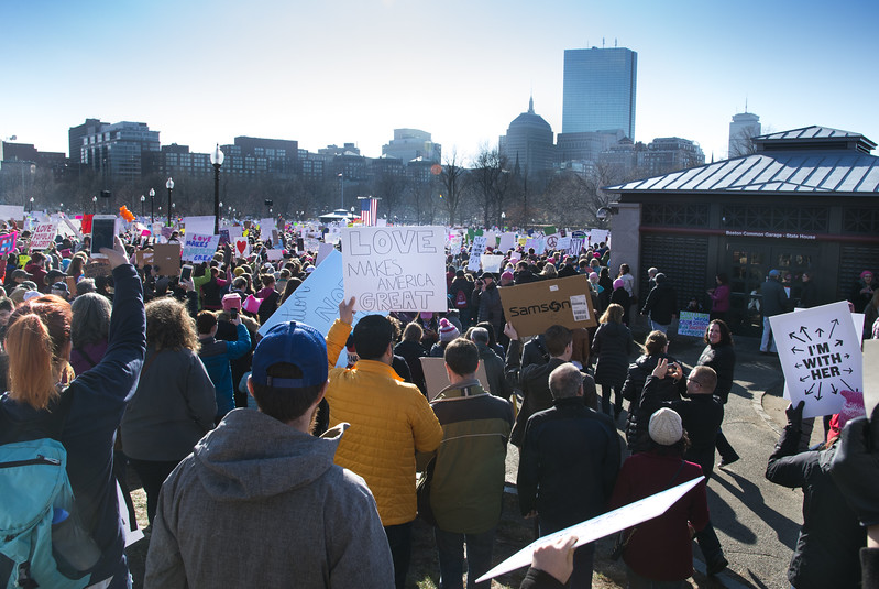 Boston Women's March Jan 21, 2017  On the Boston Common Over 170,000 women and men march the day after Donald Trump is sworn in as the 45th president