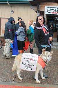 Savanah McCarty brought her dog Walker to the parade. (Natalya Estrada - The Times-Standard)