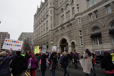 Approaching Trump Hotel, in the old Post Office building.  Note: There is only one guard at this entrance at this point.