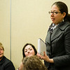 State Representative Natalie Higgins speaks to the Massachusetts Commission on the Status of Women during an open forum at the Leominster Public Library on Tuesday afternoon. SENTINEL & ENTERPRISE / Ashley Green