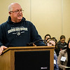 City Councilor Rick Marchand speaks to the Massachusetts Commission on the Status of Women during an open forum at the Leominster Public Library on Tuesday afternoon. SENTINEL & ENTERPRISE / Ashley Green