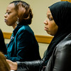 Mary-dith Tuitt and Tahirah Amatul-Wadud sit on the Massachusetts Commission on the Status of Women during an open forum at the Leominster Public Library on Tuesday afternoon. SENTINEL & ENTERPRISE / Ashley Green