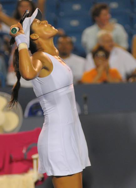 Ana Ivanovic celebrates after she wins the Match. Western & Southern Financial Group Women's Open.(CincySportsZone/Scott Davis)