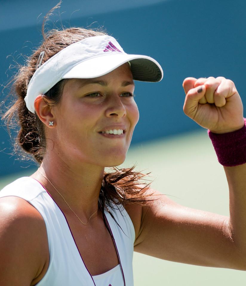 Ana Ivanovic (SRB) Celebrates after beating Elena Vesnina (RUS).( Western & Southern Financial Group Women's Open.(CincySportsZone/Scott Davis)