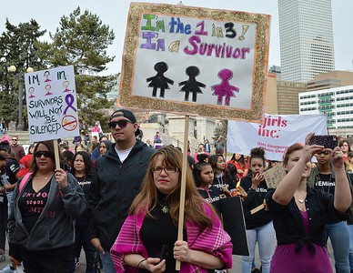 Sexual assault suvivors  were among the crowd at the 1 Billion  Rising march in Denver.