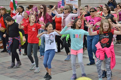 These young girls were among the dancers performing at the 1 Billion Rising rally in Denver.