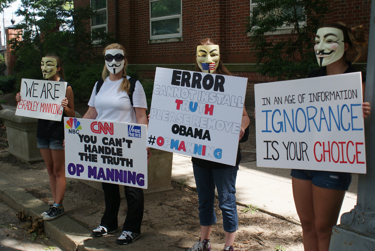 Women wearing Guy Fawkes/anonymous masks at rally supporting Bradley Manning.