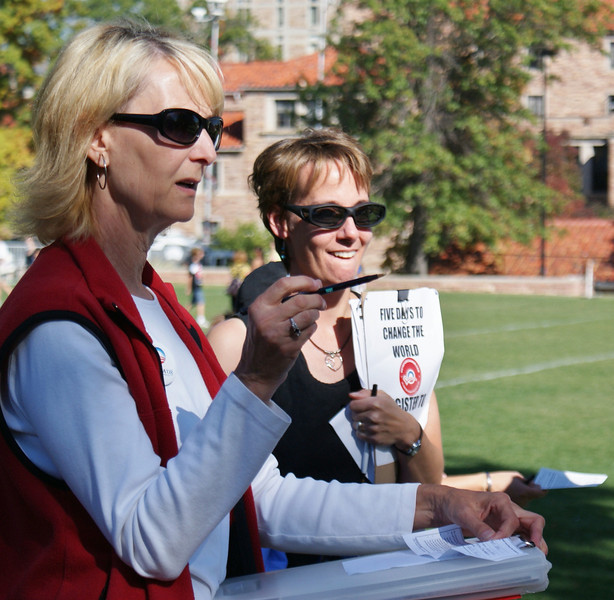 Two women political activists register voters on the University of Colorado campus in Boulder.