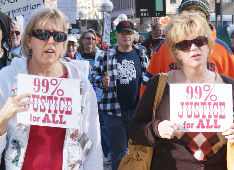 These two women were part of an occupy march in Denver.