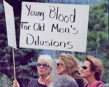 Woman at anti-war demonstration.