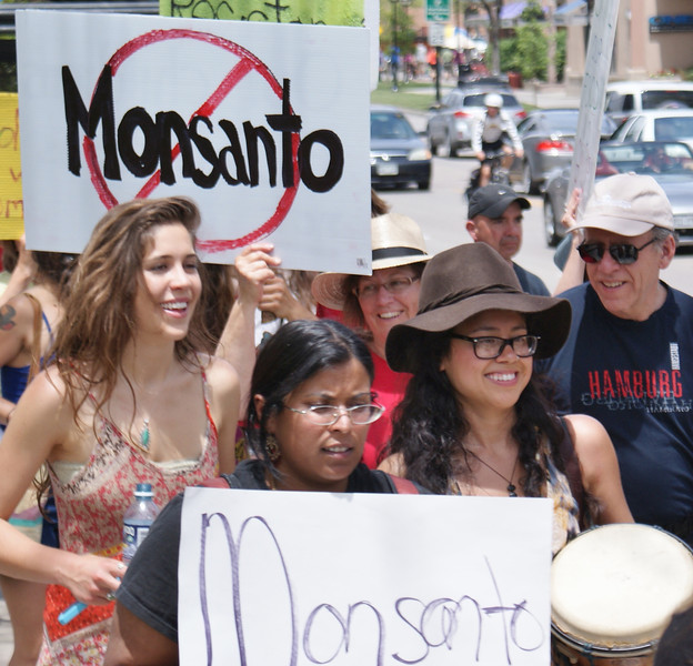 """These young women were part of a """"March Against Monsanto"""" in Boulder, Colorado."""