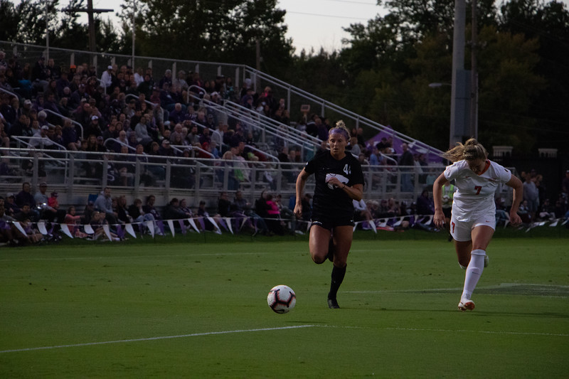Tatum Wagner runs the ball up field for an attempted shot on goal. The Wildcats lost the game 1-3 (Rowan Jones Collegian Media Group)