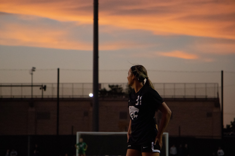 Number 31, defender Avery Green, watches the KSU/OSU game accross the field. Kansas State lost the game 1-3, in the second half. (Rowan Jones Collegian Media Group)
