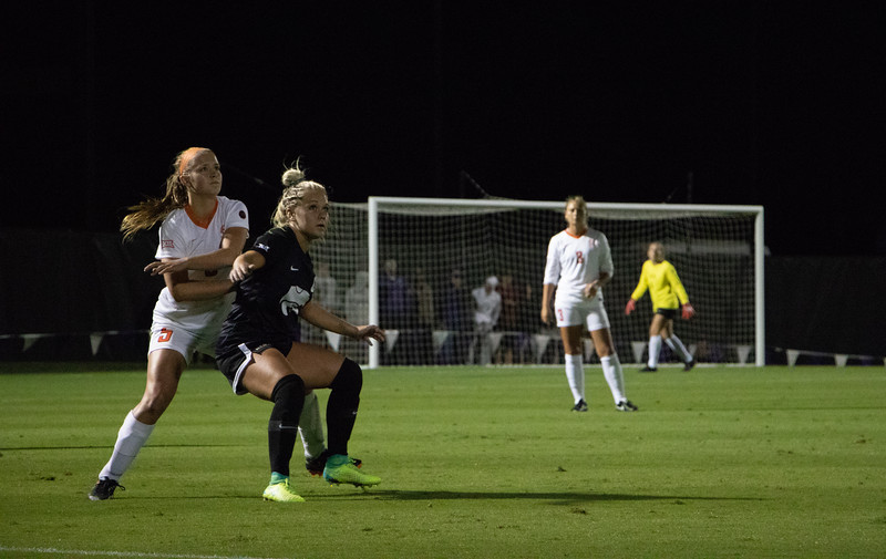 Hannah Davis bodys up to block an Oklahoma State defender from gaining possesion, during the home game on the 21st of September. Kansas State lost the game 1-3. (Rowan Jones Collegian Media Group)