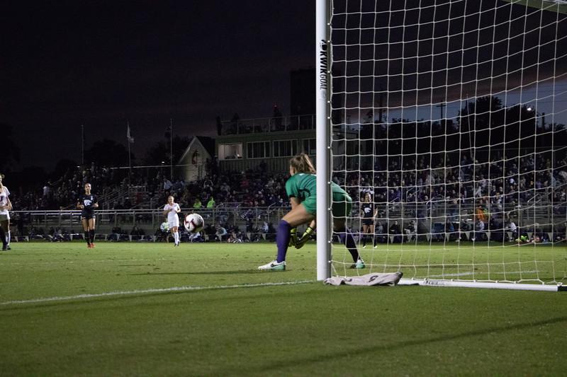 Squating down goalkeeper Emma Malsy stops the ball. The sophmore had 8 saves during the KSU/OSU game (Rowan Jones Collegian Media)