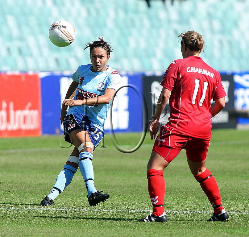 Kyah Simon - Sydney F.C - Action from Westfield W-League Round 5 match between Sydney F.C and Adelaide United played at the Sydney Football Stadium on the 1st November 2009. The match was won by Sydney F.C 6-0 (PHOTO: ROB SHEELEY - SMP IMAGES) These images are intended for editorial use only (e.g. news or commentary print or electronic). Any commercial or promotional use requires additional clearance.