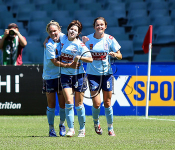 Sydney F.c celebrate a goal to Sarah Walsh (centre) - Action from Westfield W-League Round 5 match between Sydney F.C and Adelaide United played at the Sydney Football Stadium on the 1st November 2009. The match was won by Sydney F.C 6-0 (PHOTO: ROB SHEELEY - SMP IMAGES) These images are intended for editorial use only (e.g. news or commentary print or electronic). Any commercial or promotional use requires additional clearance.