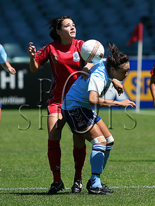 Adelaide's Donna Cockayne (left) and Sydney's Kiah Simon contest a high ball - Action from Westfield W-League Round 5 match between Sydney F.C and Adelaide United played at the Sydney Football Stadium on the 1st November 2009. The match was won by Sydney F.C 6-0 (PHOTO: ROB SHEELEY - SMP IMAGES) These images are intended for editorial use only (e.g. news or commentary print or electronic). Any commercial or promotional use requires additional clearance.