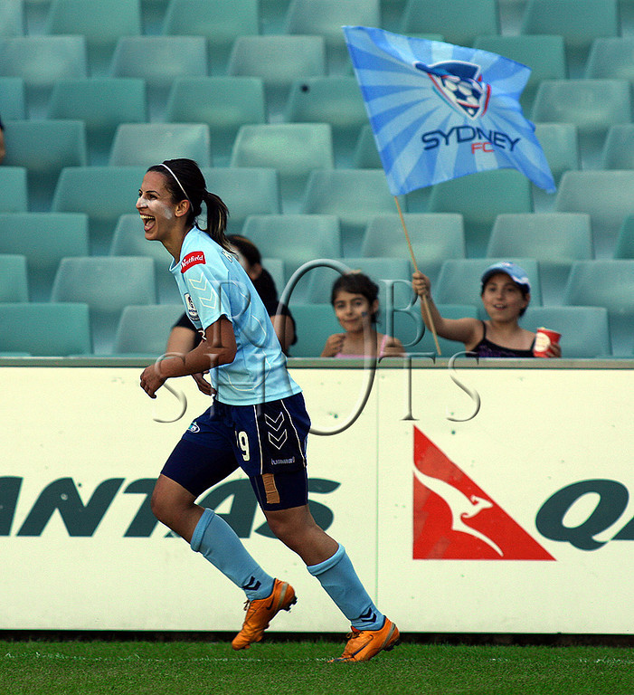 Leena Khamis - Sydney F.C is all smiles after scoring a goal - Action from Westfield W-League Round 5 match between Sydney F.C and Adelaide United played at the Sydney Football Stadium on the 1st November 2009. The match was won by Sydney F.C 6-0 (PHOTO: ROB SHEELEY - SMP IMAGES) These images are intended for editorial use only (e.g. news or commentary print or electronic). Any commercial or promotional use requires additional clearance.