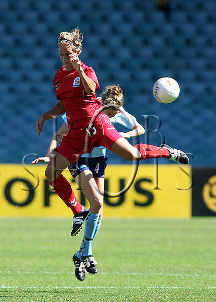 Tenneille Boaler - Adelaide United flies high to head the ball - Action from Westfield W-League Round 5 match between Sydney F.C and Adelaide United played at the Sydney Football Stadium on the 1st November 2009. The match was won by Sydney F.C 6-0 (PHOTO: ROB SHEELEY - SMP IMAGES) These images are intended for editorial use only (e.g. news or commentary print or electronic). Any commercial or promotional use requires additional clearance.