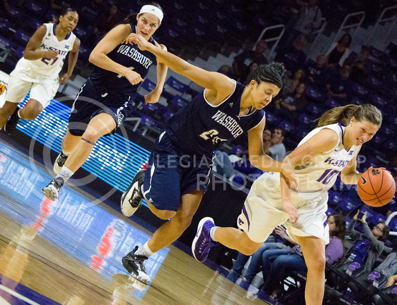 Kayla Goth, sophomore guard, runs with the ball during the K-State game against Washburn in Bramlage Coliseum on Nov. 4, 2016. (Alanud Alanazi | The Collegian)