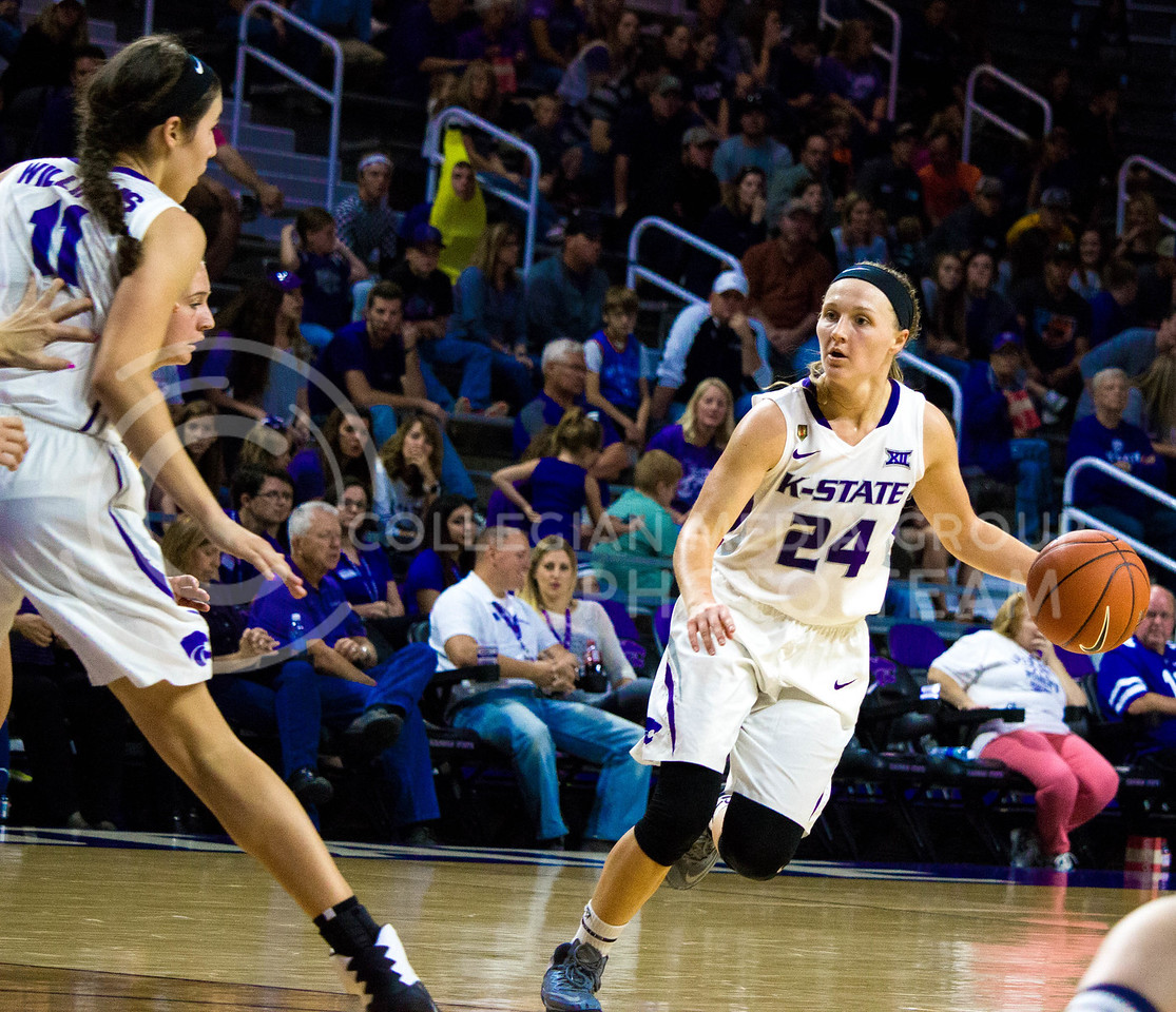 Kindredx Wesemann, senior guard, runs with the ball during the K-State game against Washburn in Bramlage Coliseum on Nov. 4, 2016. (Alanud Alanazi   The Collegian)
