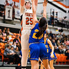 Ventura College Pirates Women's Basketball plays Allan Hancock Bulldogs at VC, Ventura Calif., Wednesday evening, Feb. 19, 2020. Pirate Madison Kast shoots for a basket. (Photo by Greg A. Cooper / © Ventura College Athletics 2020)