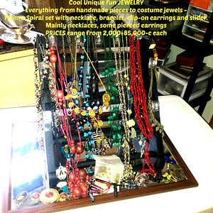 JEWELRY - Cool Unique fun jewelry - everything from handmade pieces to costume jewels from a Spiral set with necklace, bracelet, clip-on earrings and slider. Mainly necklaces, some pierced earrings.