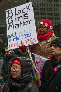 """Chicago's """"Young Women's March 2019"""" in Federal Plaza on a snowy January 19th."""