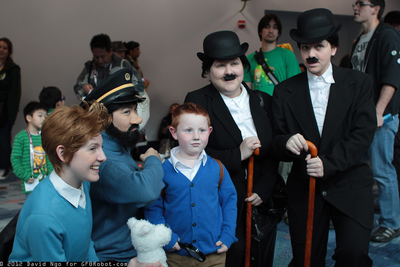Tintins, Captain Haddock, Thomson, Thompson, and Snowy