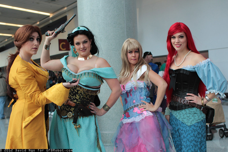 Belle, Princess Jasmine, Rapunzel, and Ariel