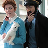 Tintin, Captain Haddock, and Snowy