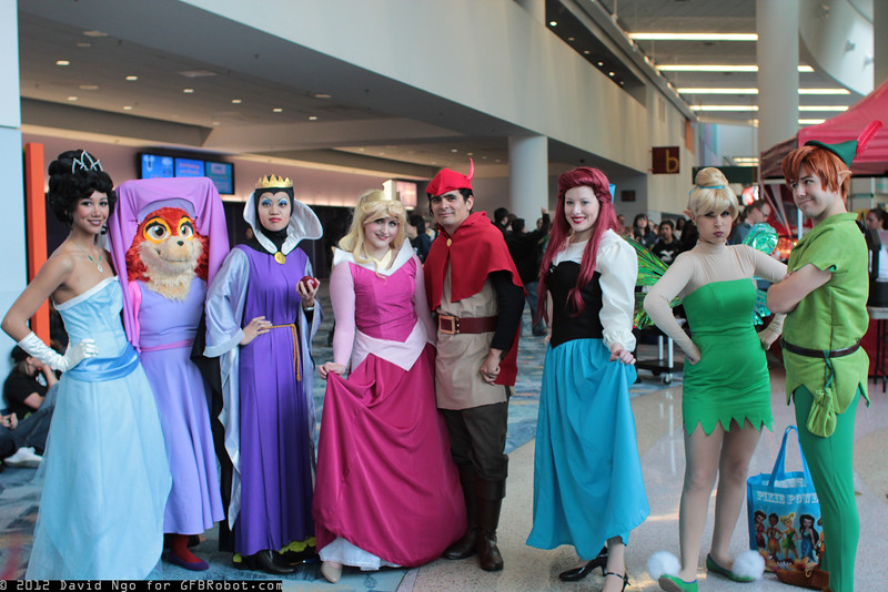 Tiana, Maid Marian, Queen Grimhilde, Princess Aurora, Prince Phillip, Ariel, Tinker Bell, and Peter Pan