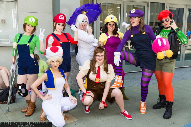 Luigi, Toad, Mario, King Boo, Donkey Kong, Wario, Waluigi, and Bowser