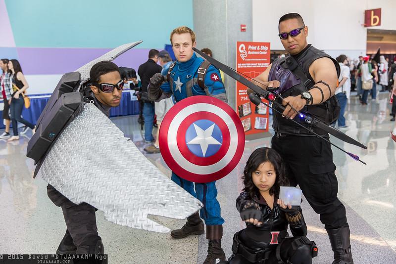 Falcon, Captain America, Black Widow, and Hawkeye
