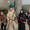 Finn, Rey, Kylo Ren, and Han Solo